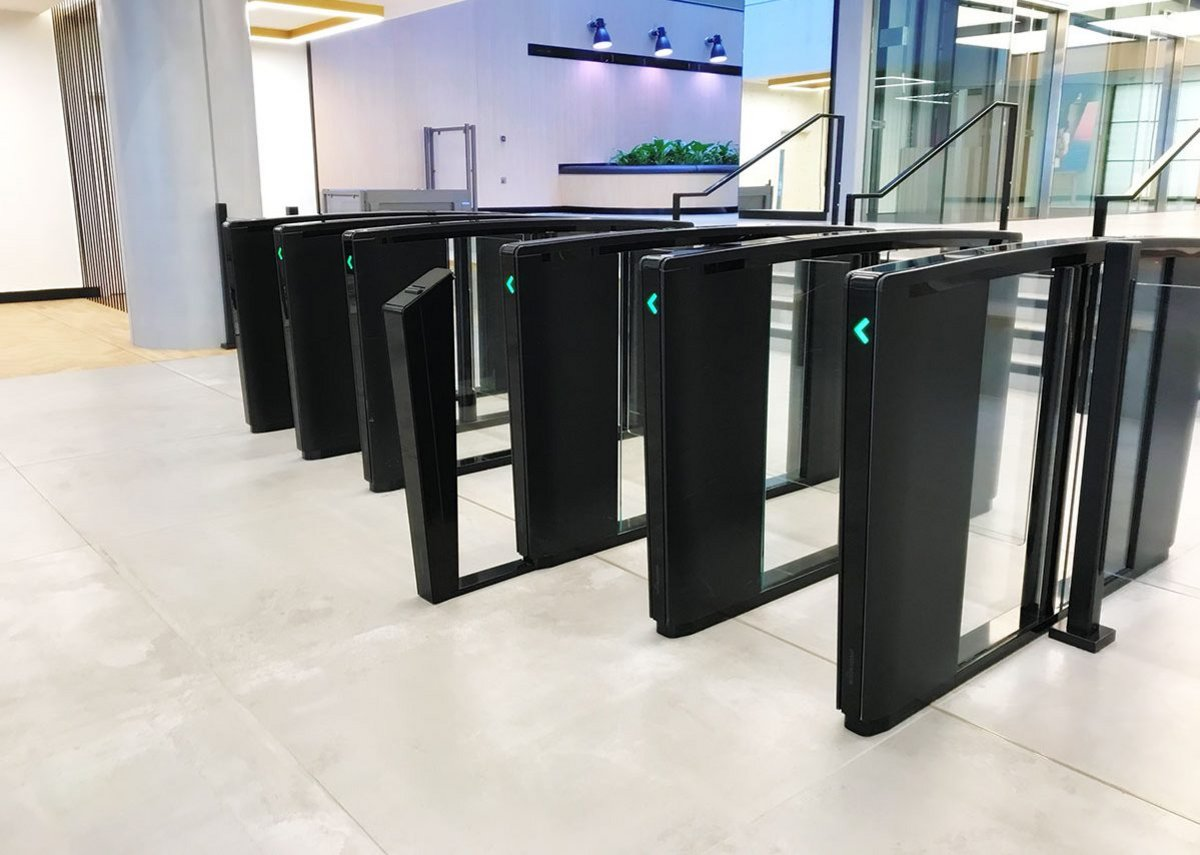 Boon Edam Lifeline Speedline Swing smart security gate turnstiles.