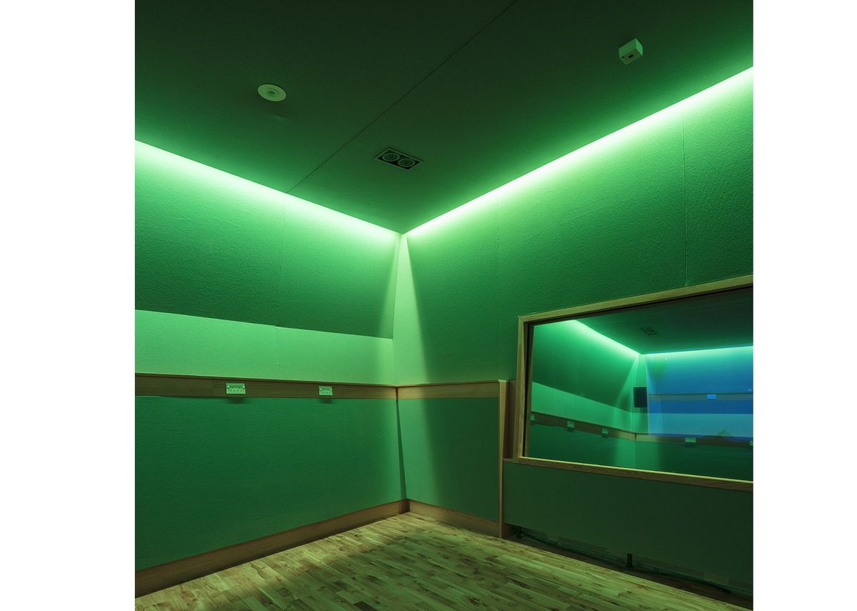 Sensory room  lit in green.