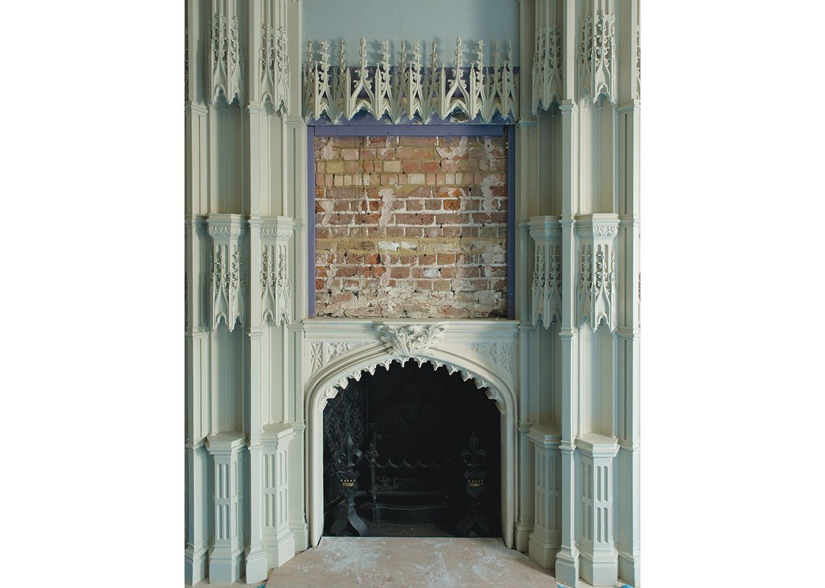 Restored chimney-piece in the Holbein Chamber.