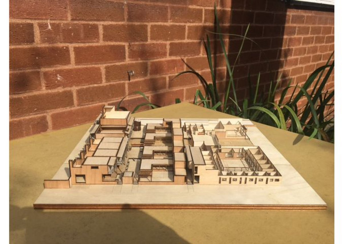 Interim design for Clare Hall. 1:200 Model.