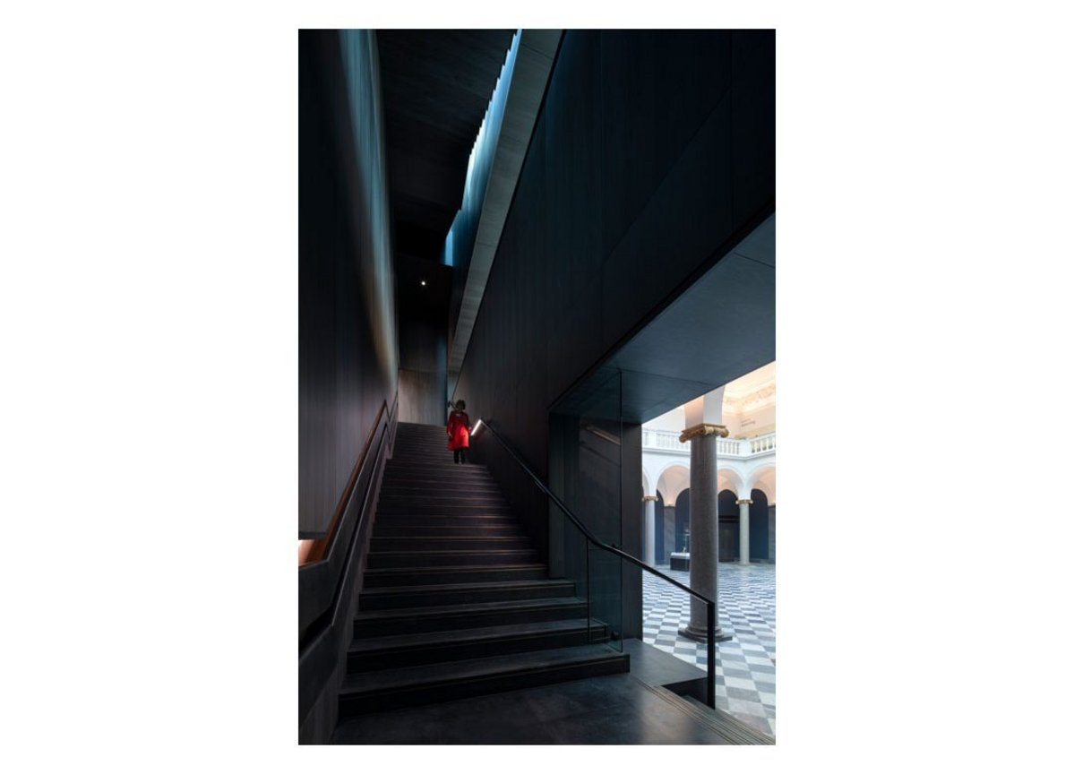 Darkness and light – looking up staircase from the ground floor.