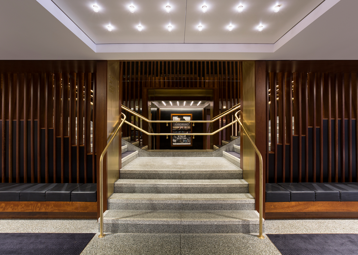 The dramatic Phase II of Glasgow Film Theatre, using dark timber, brass and leather, won the 2018 Architecture Grand Prix Scottish Design Award