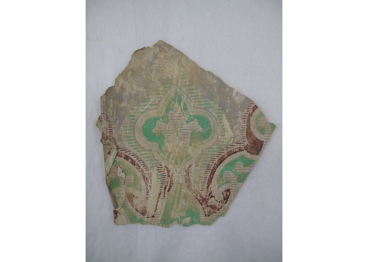 Fragment of wallpaper c1830-1860, collected from Brook End Farm, near Hackney. Courtesy of the Museum of the Home