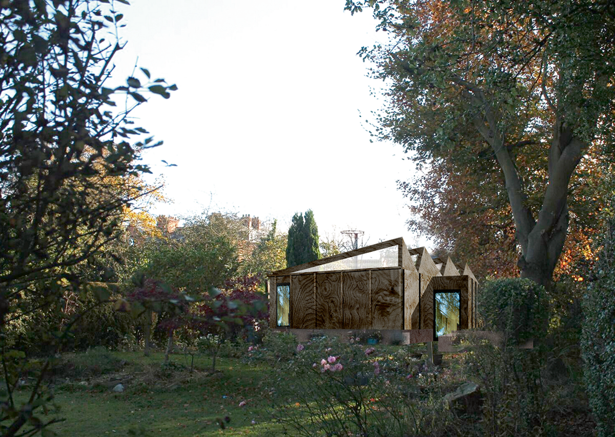 Design for an artist studio at the bottom of a garden in Belfast, currently under construction. Rainwater will be collected to wash the paintbrushes.