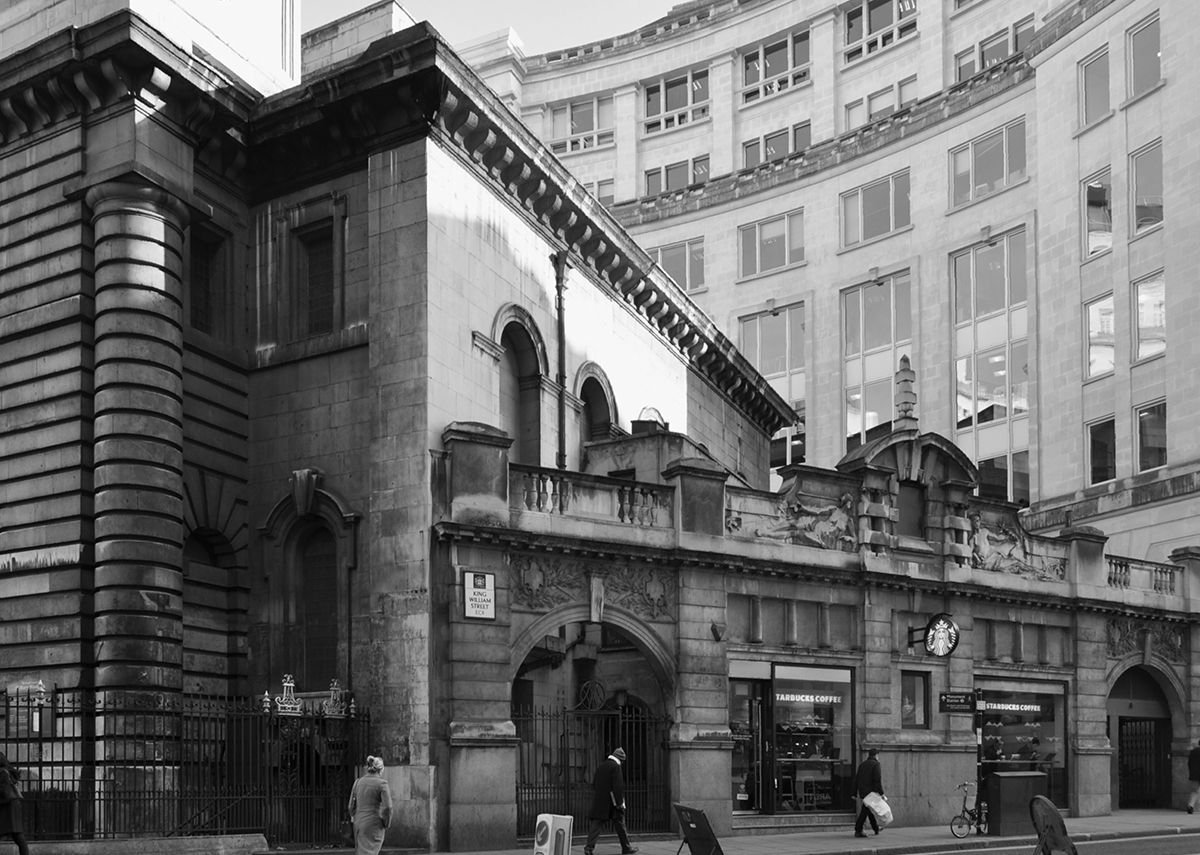 Sidney R.J.Smith's 1899-1900 entrance to Bank Station adjoining St Mary Woolnoth to the south.