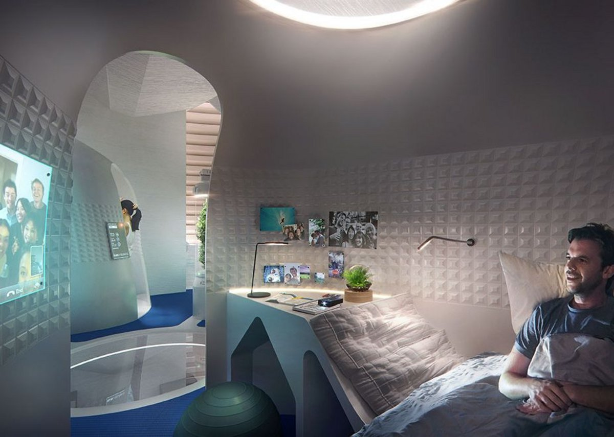 The third level features the most private zones including private sleeping pods and bathroom. Semi-closed pods offer a zone to retreat to without promoting total isolation.