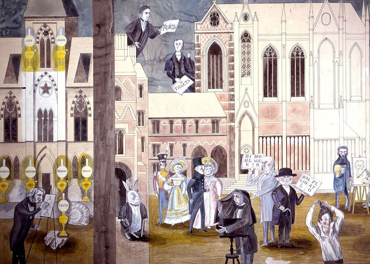 Edward Bawden, cartoon for murals at Blackwells Bookshop, Oxford with John Ruskin outside the University Museum of Natural History with the Seven Lamps of Architecture.