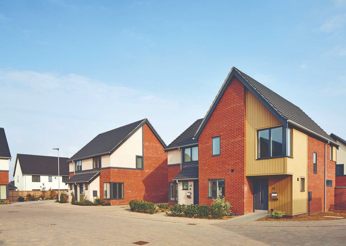 Manor Reach in Sprowston, near Norwich: Velfac glazing, from small punch-hole units to full-height window walls, were specified at the Scandinavian-inspired residential development of 164 homes.