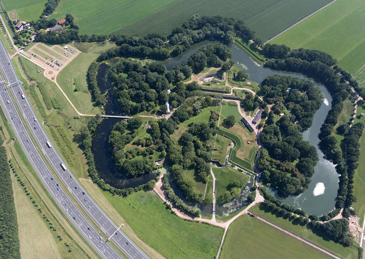 Bird's eye view of Fort Vechten, near Utrecht. Decommissioned in 1951, it was one of the largest forts on the Dutch Waterline.
