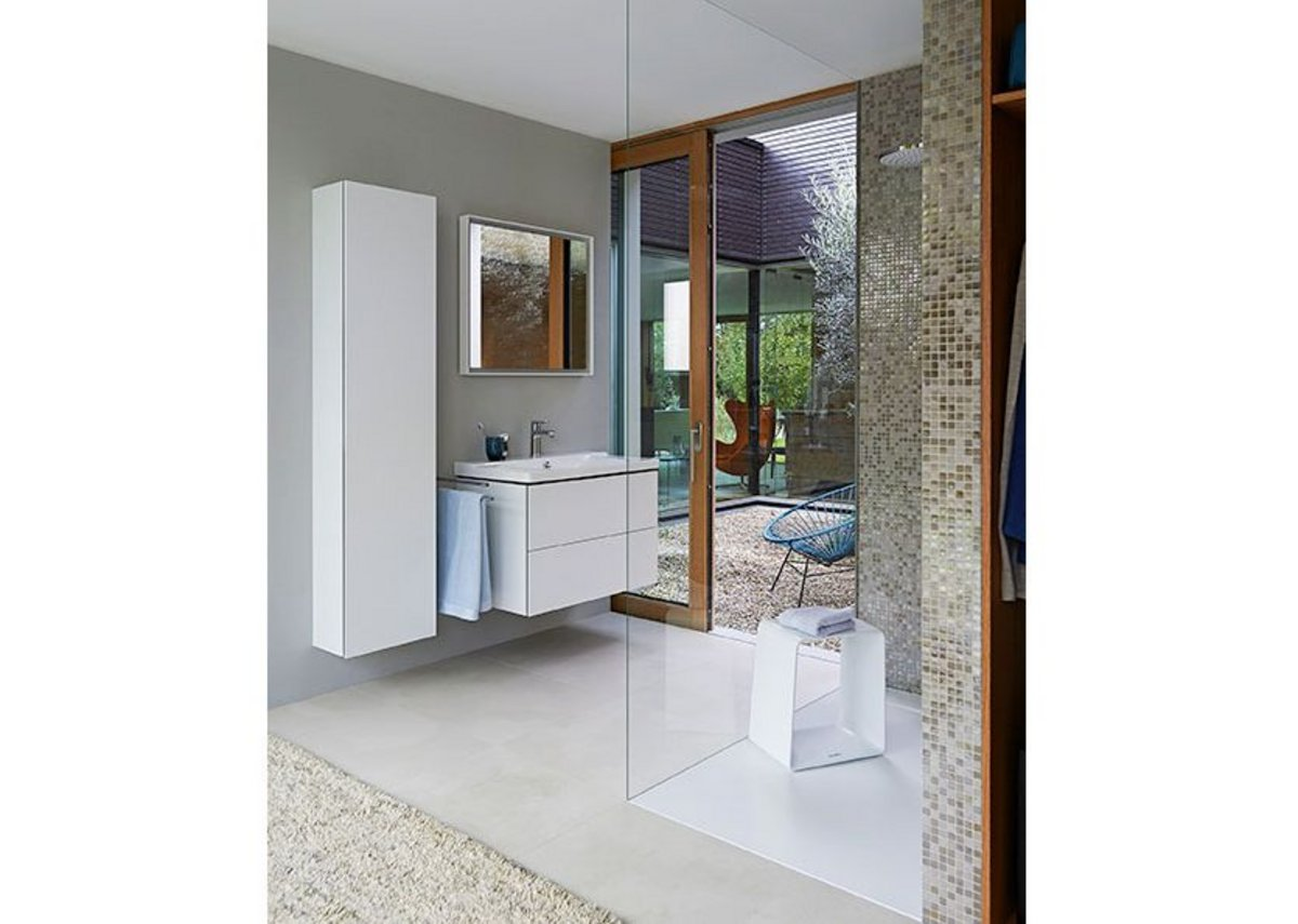 The shower stool also offers shelf space and  serves as an attractive design object in the shower.