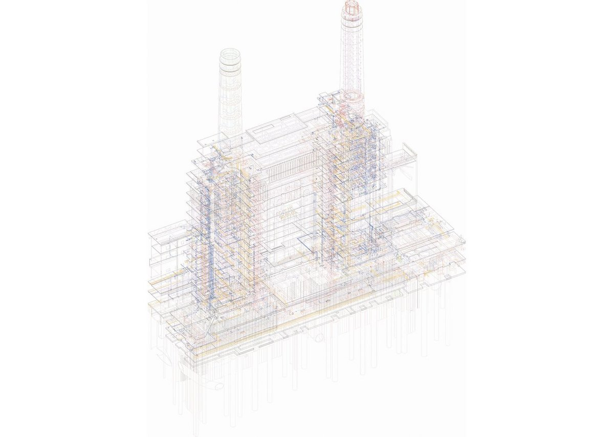 Battersea Power Station, Chris Wilkinson OBE RA at the Royal Academy Summer Show 2017. Digital print of BIM model, 180 × 150 cm. Courtesy of WilkinsonEyre.