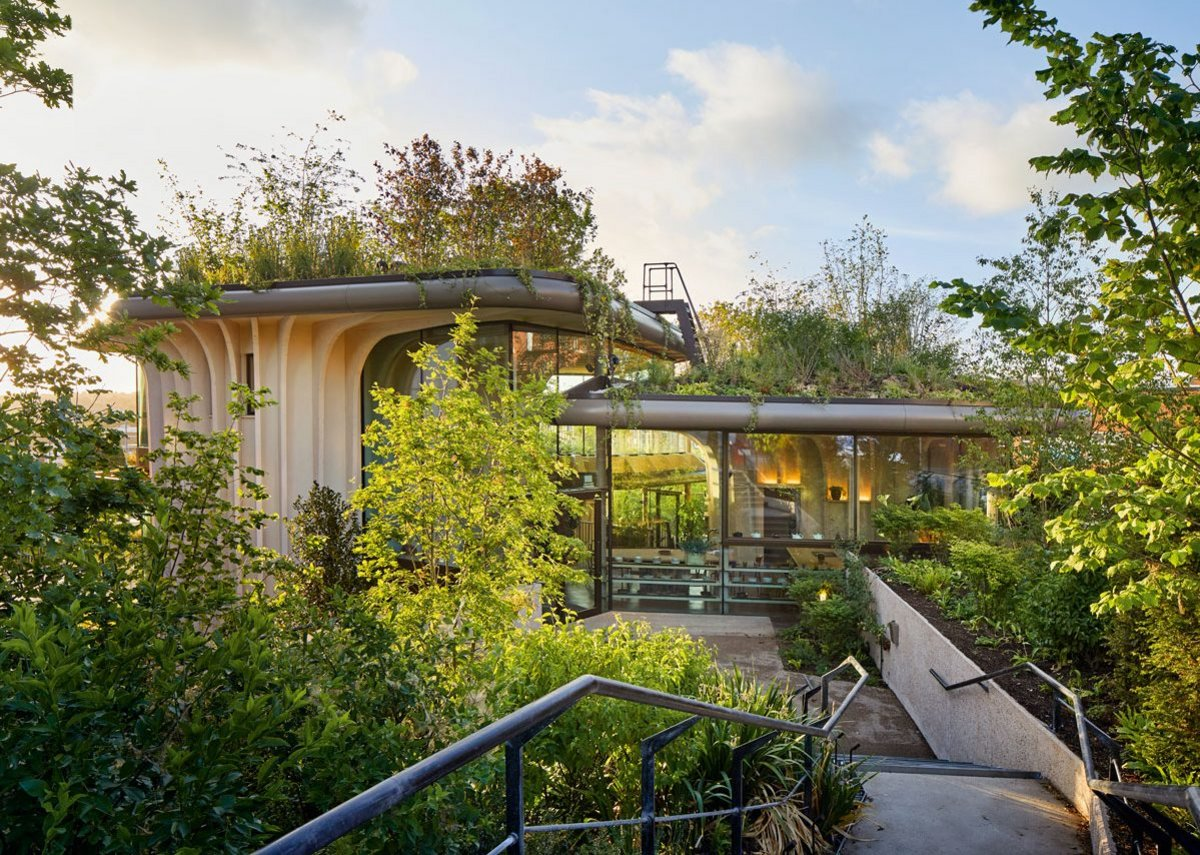 Three timber pavilions with planter roofs running up the site now offer views out to the neighbourhood, city and the Dales beyond.