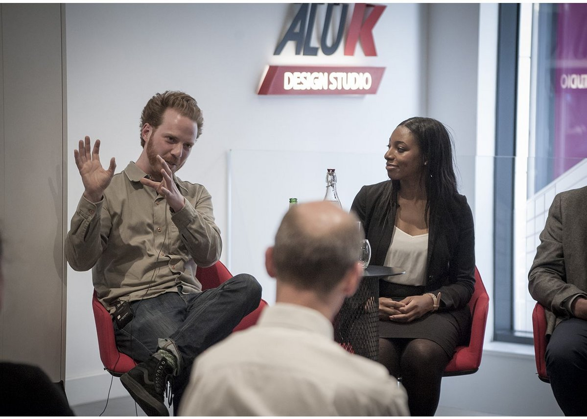 Will Sandy, creative director, The Edible Bus Stop and Chloe Obi, head of BIM, Bouygues UK at AluK's Social Infrastructure panel debate.