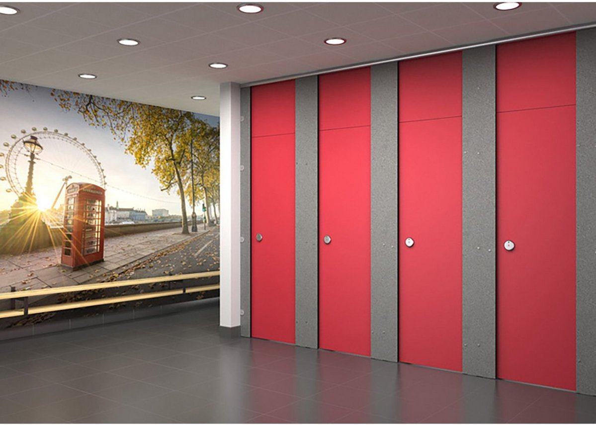 Trovex hygienic wall cladding at commercial washrooms.