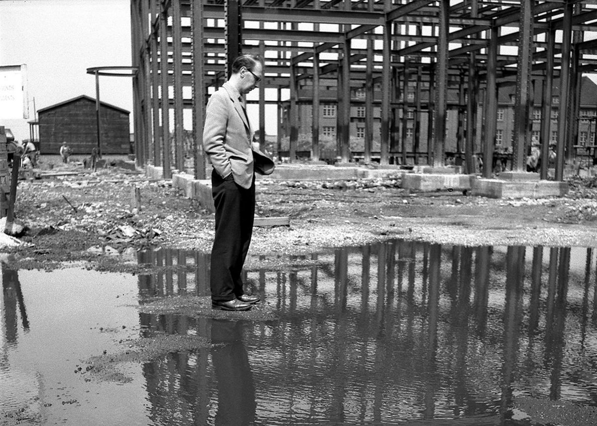 Larkin's self portrait on the site of his first new library at Hull in the late 1950s.