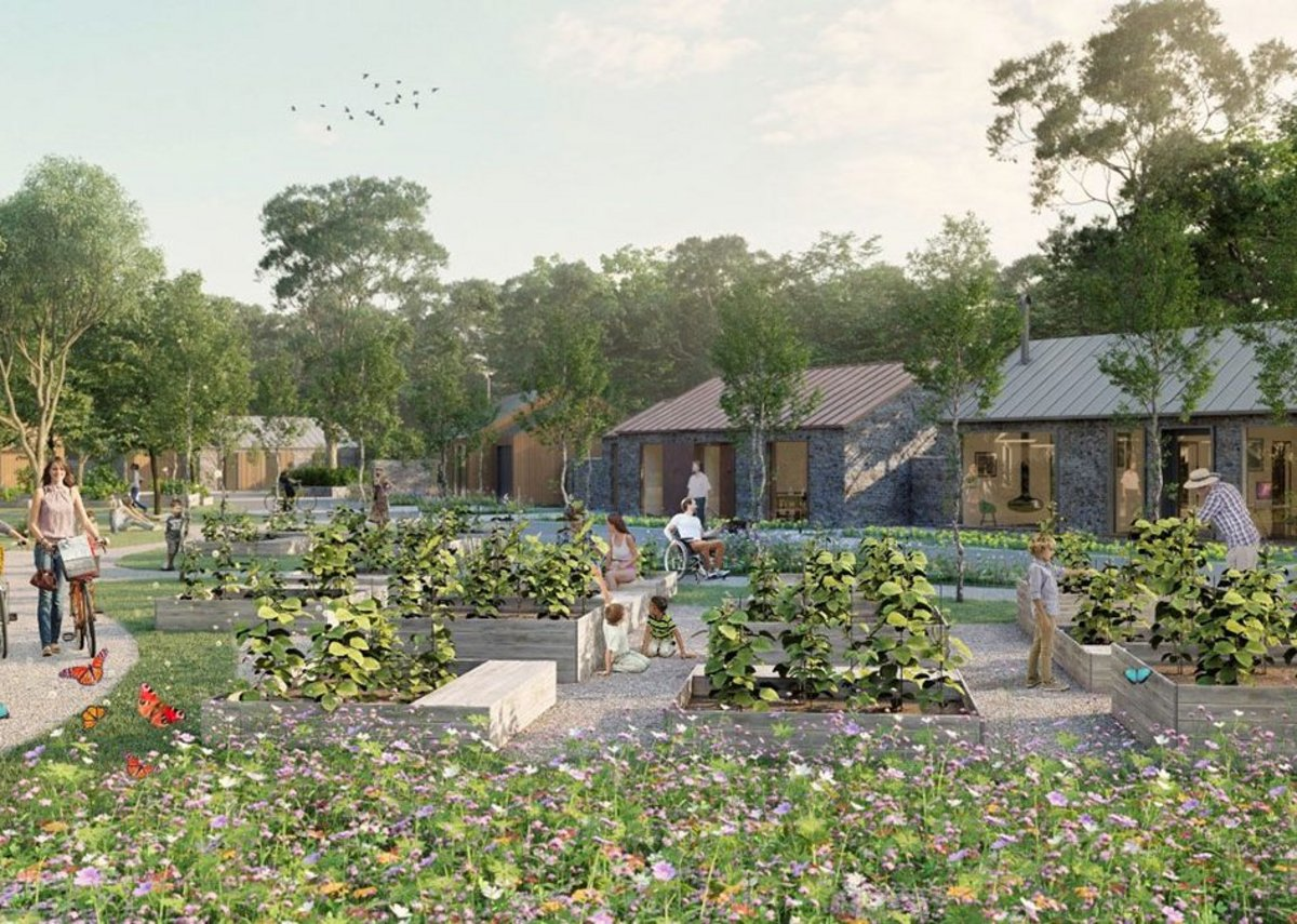 Dandelion Seeds Architects' design for an eco-friendly bungalows set around a shared community space, incorporating permaculture values.