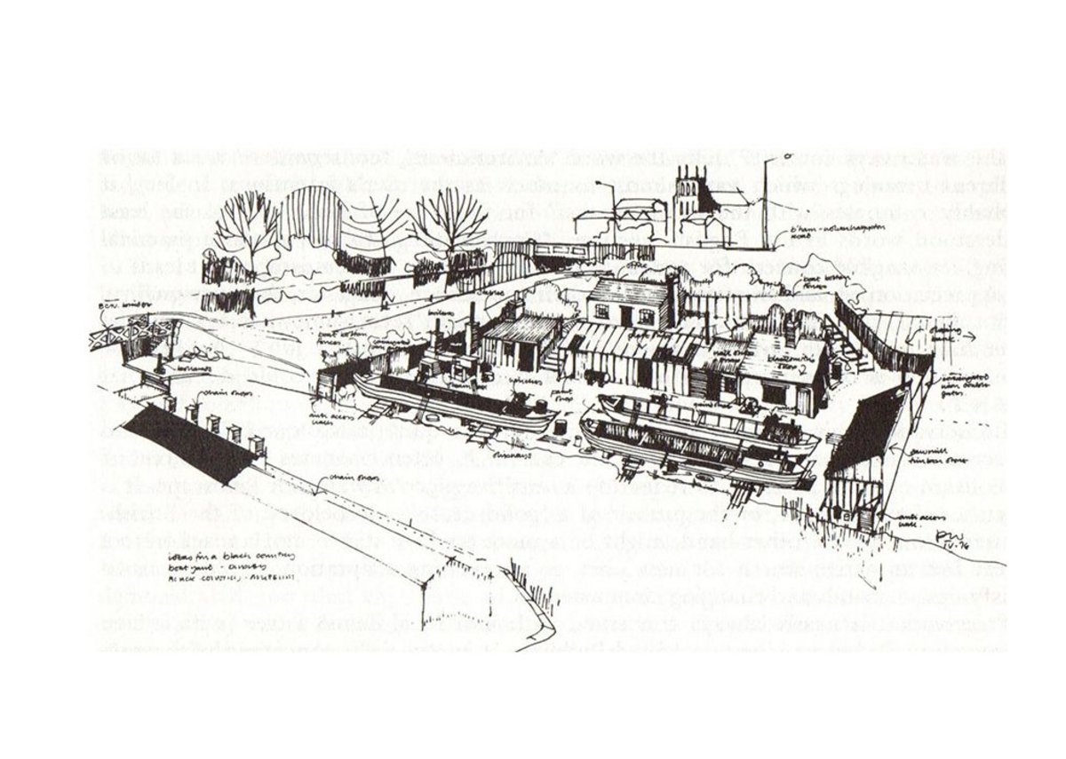 Peter White's 1970s design for a canalside boatyard at the Blackcountry Museum in Dudley
