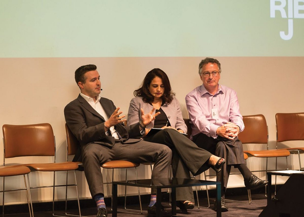 From left: John Davies (Derwent London), Ankita Dwivedi (Gensler) and Jeremy Sumeray (Armstrong World Industries).