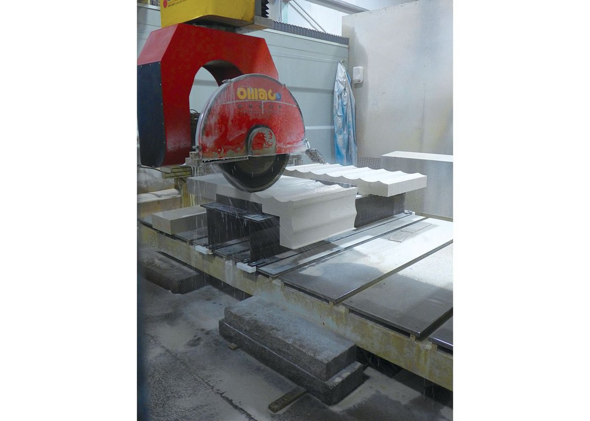 CNC stone cutting machines worked to millimetre precision.