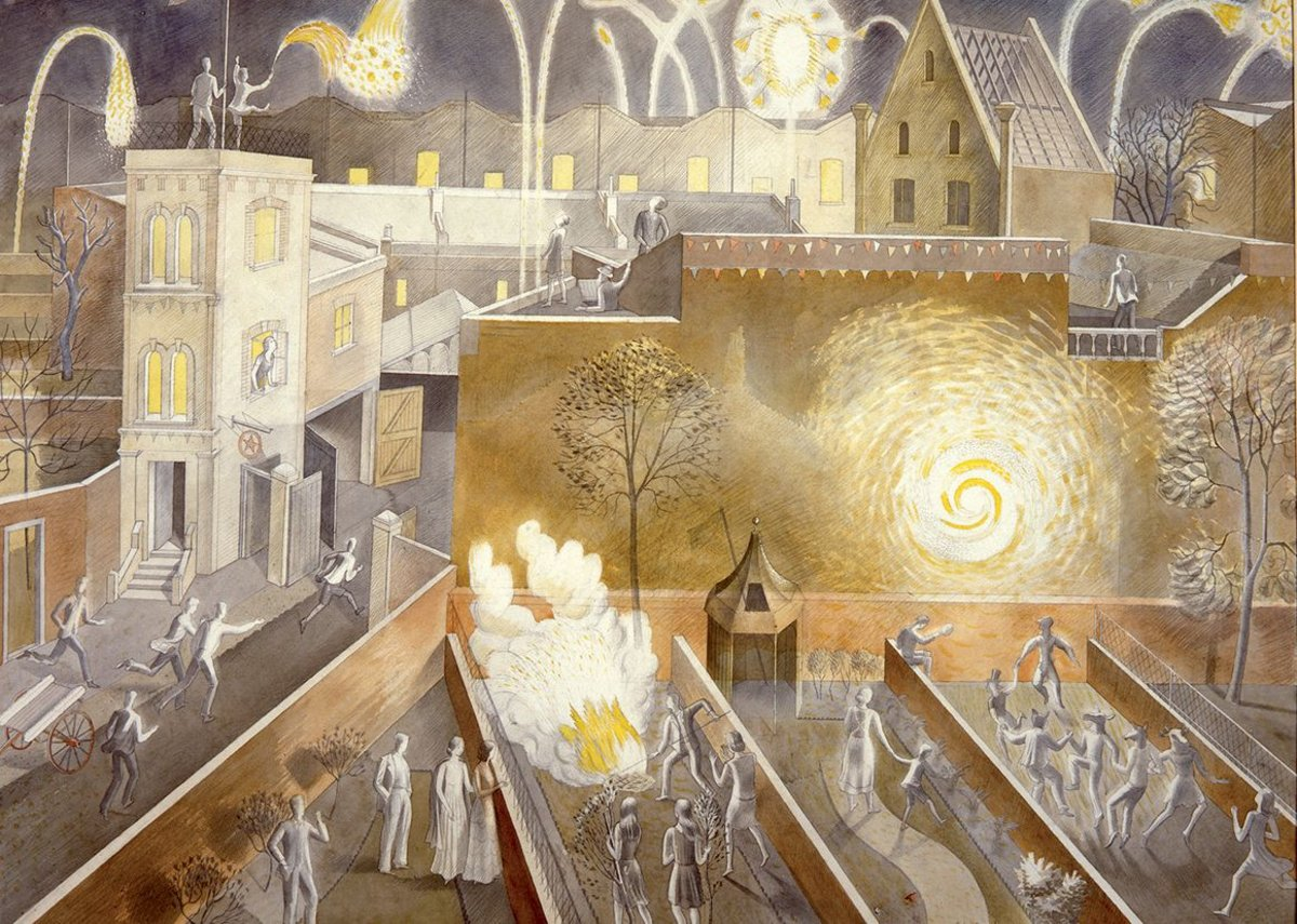 Ravilious portrays Firework Night as a Saturnalia.