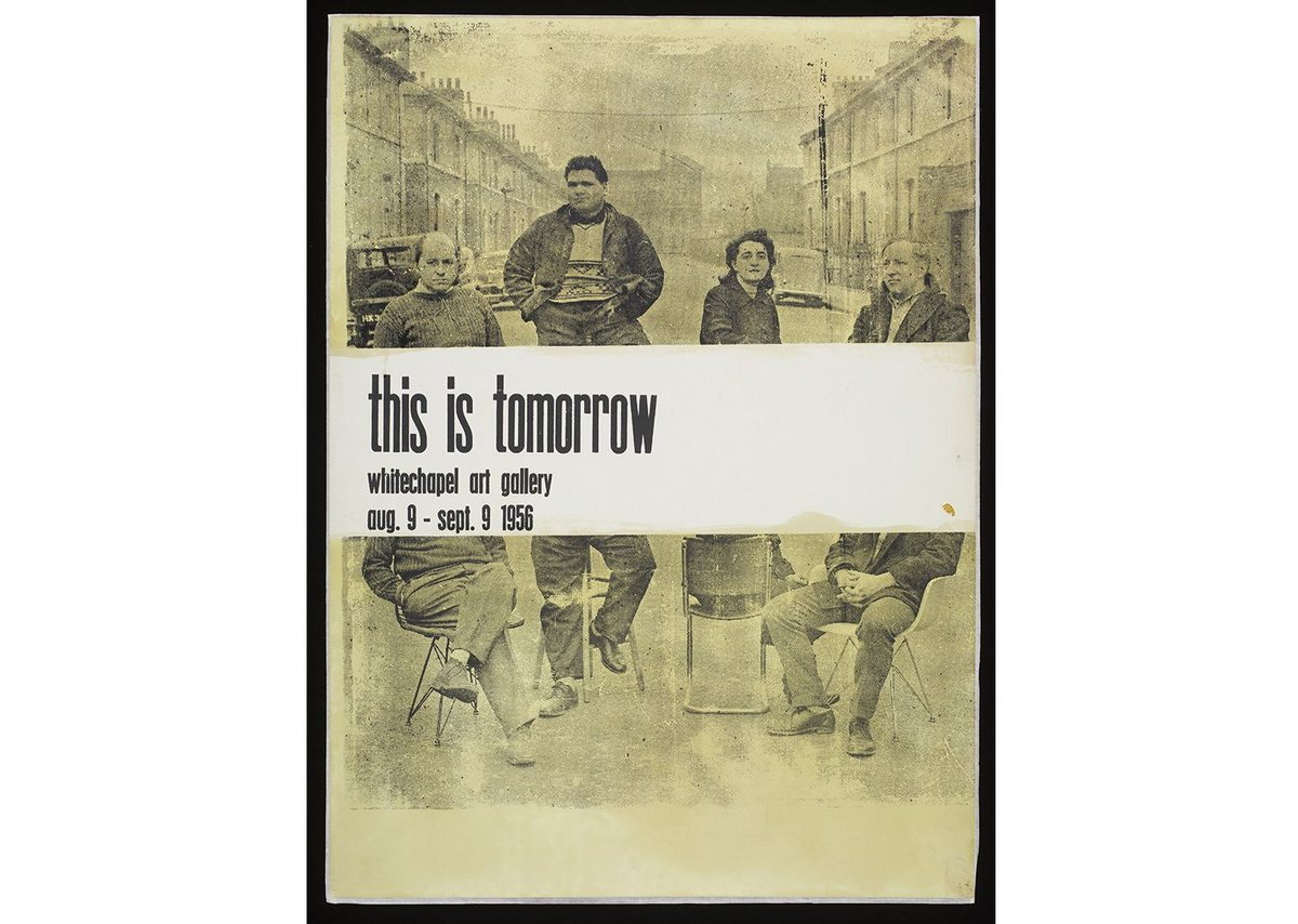 Exhibition poster for This Is Tomorrow 1956, Screenprint on paper, Victoria & Albert Museum, London. Left to right:  Peter Smithson, Eduardo Paolozzi, Alison Smithson, Nigel Henderson.