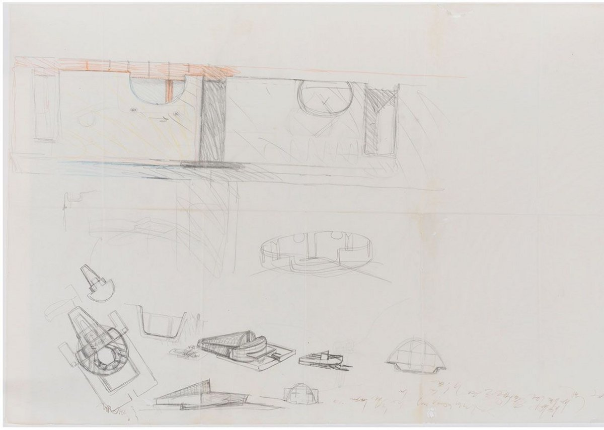 Carlo Scarpa, studies for a theatre, 1970.
