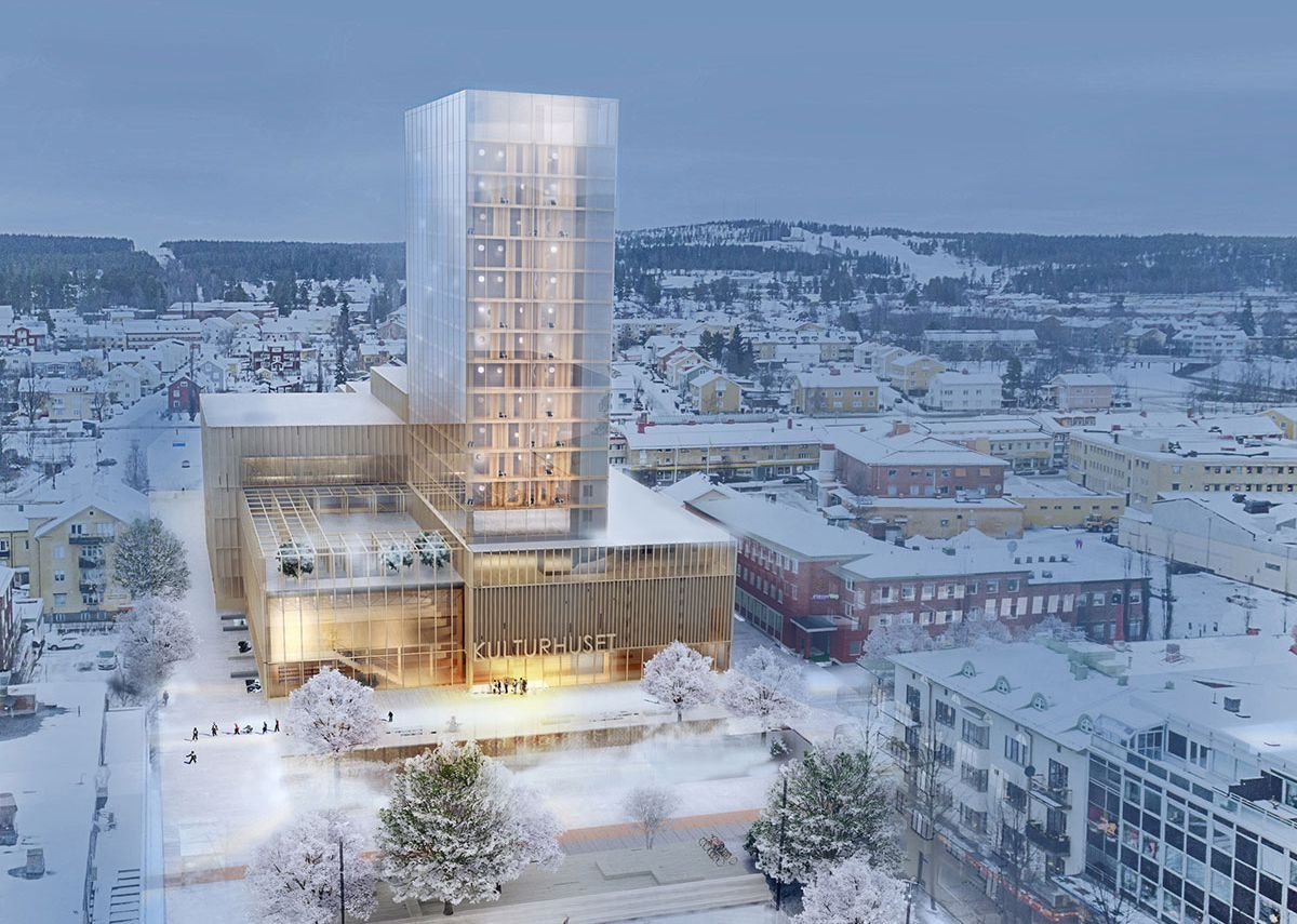 Kulturhus Skellefteå, a proposed 19-storey timber-framed building designed by White Arkitekter in Skellefteå, Sweden.
