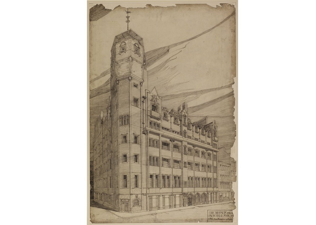 Charles Rennie Mackintosh, Extension to Glasgow Herald building: perspective, 1894 © The Hunterian, University of Glasgow 2014.
