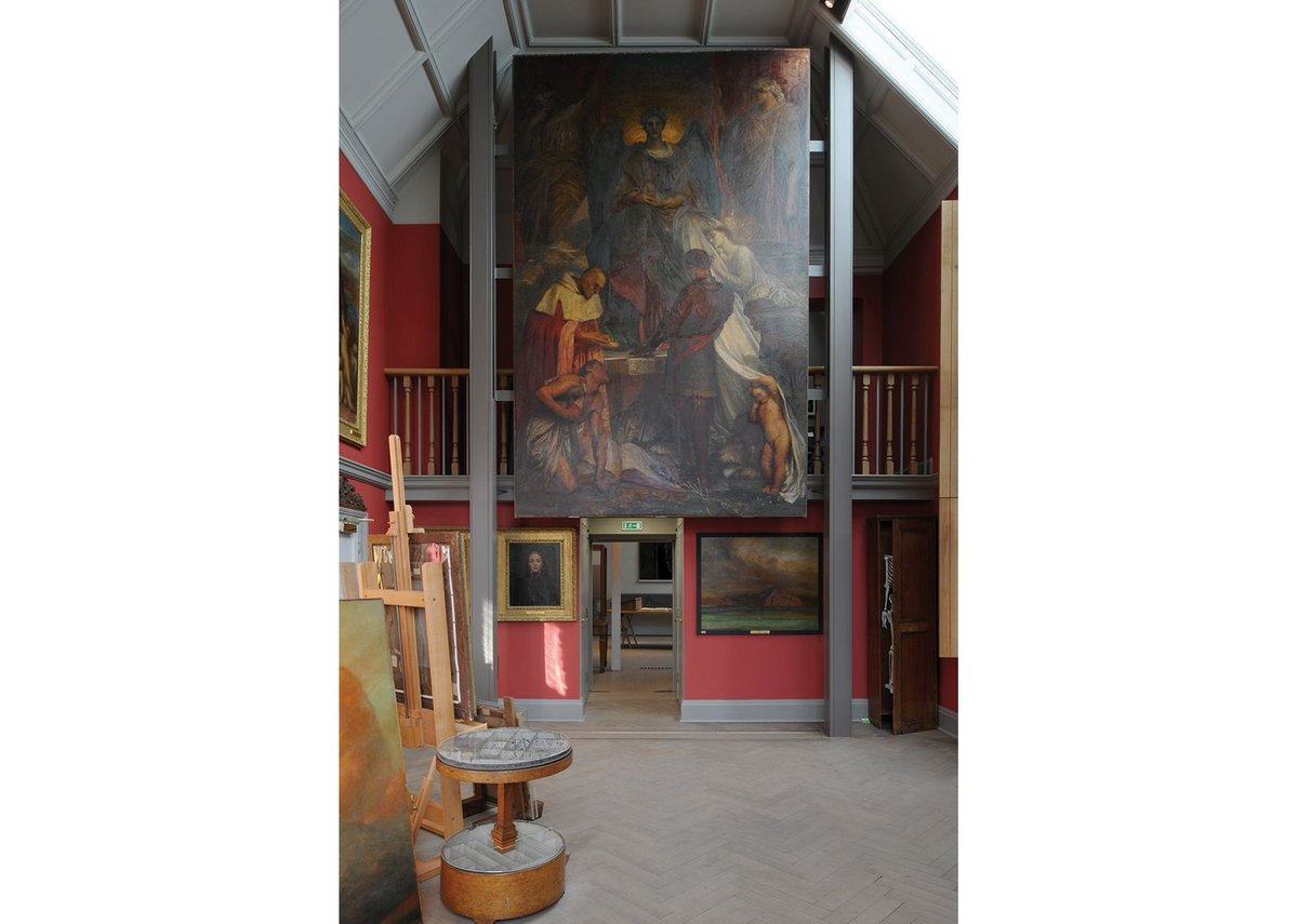 The studio, which is dominated by Watts' unfinished work, The Court of Death.