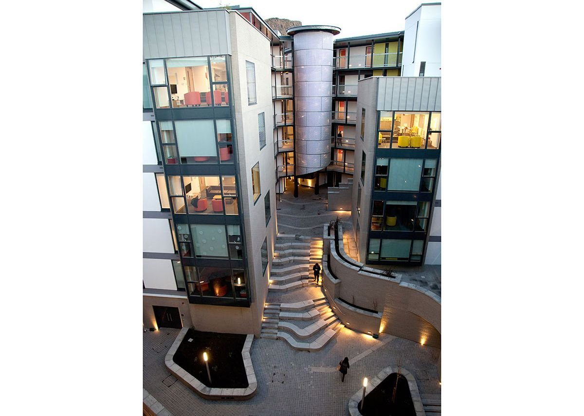 Velfac installation at Holyrood South student housing, University of Edinburgh. Richard Murphy Architects.