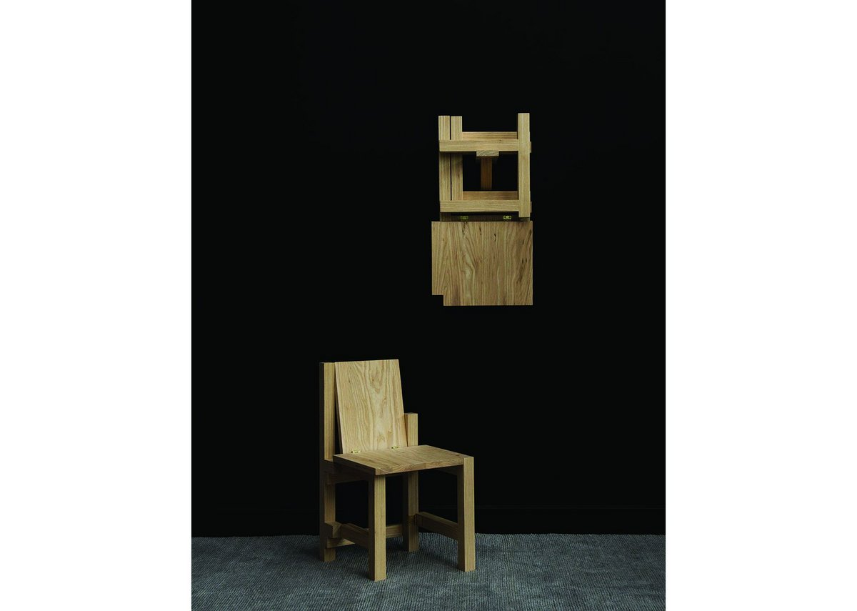 Folded chair, NMHK Co. Timber: American white ash / American black walnut.