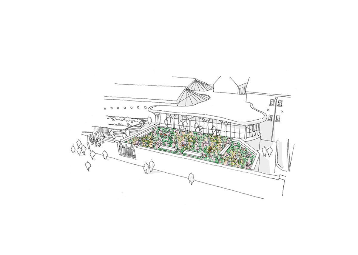 Illustration of the new Museum of the Home Studio with sustainable green roof. Courtesy of Wright & Wright Architects