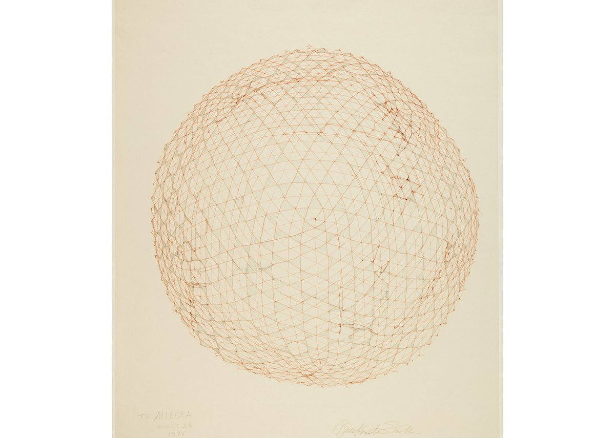 R. Buckminster Fuller, Study drawing for a Geodesic Sphere, 1975.
