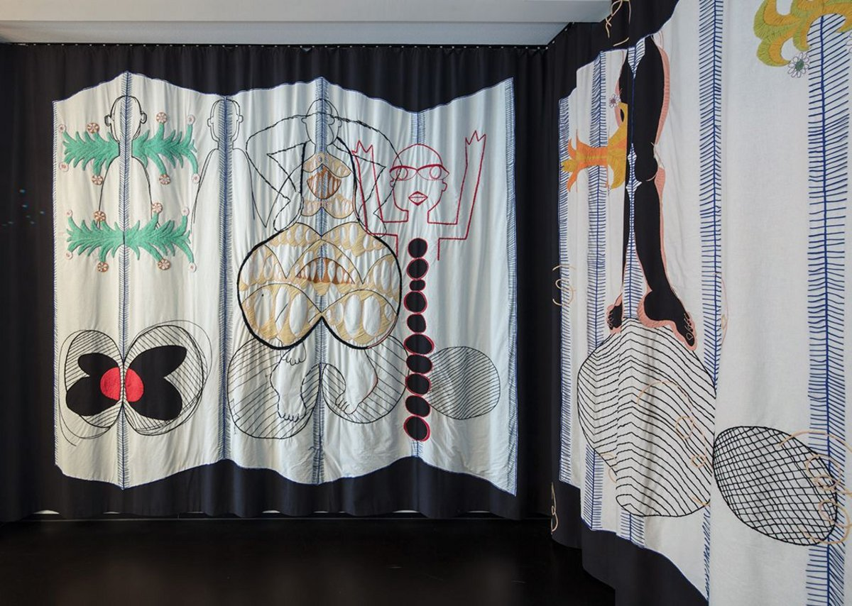 Valerie Mannaerts' art piece 'Pleasure in Making' brings softness and whimsy to the space.