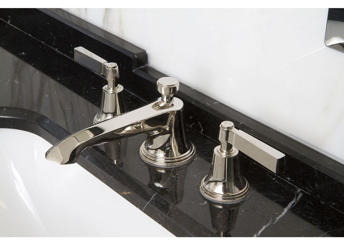 Samuel's Heath's Style Moderne basin mixer taps with metal levers offer a modern take on the geometric lines of Art Deco.