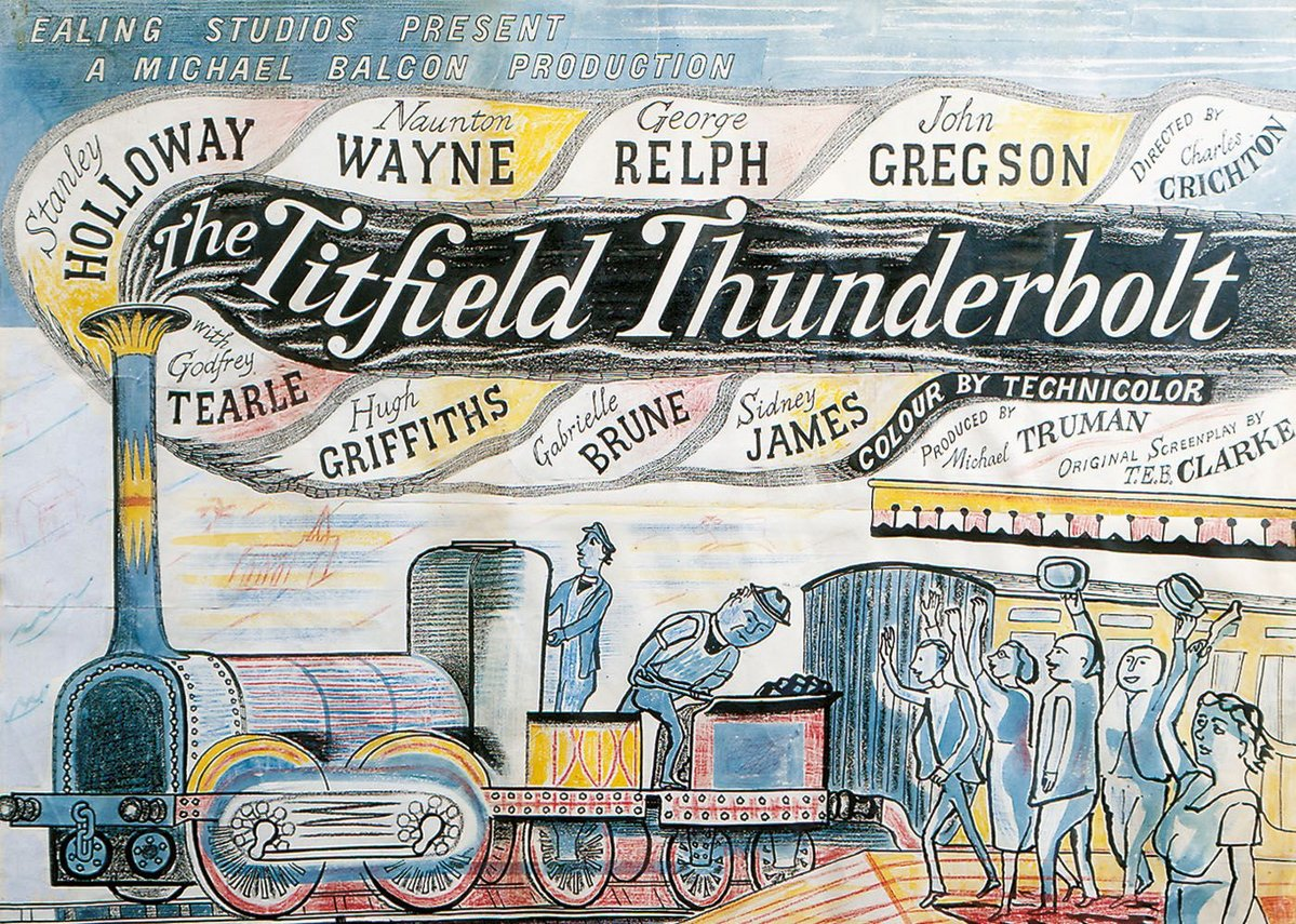 Titfield Thunderbolt artwork, original artwork for Ealing Studios film poster, 1953.