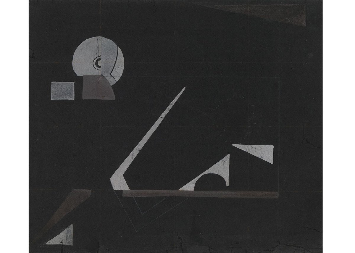 Eileen Gray, Black Magic, c.1930. Gouache and pencil on paper, 30 × 35 cm.