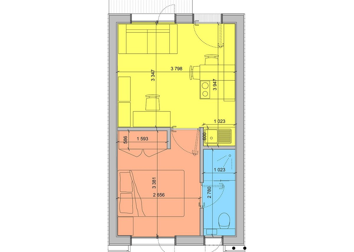 Typical studio flat floorplan