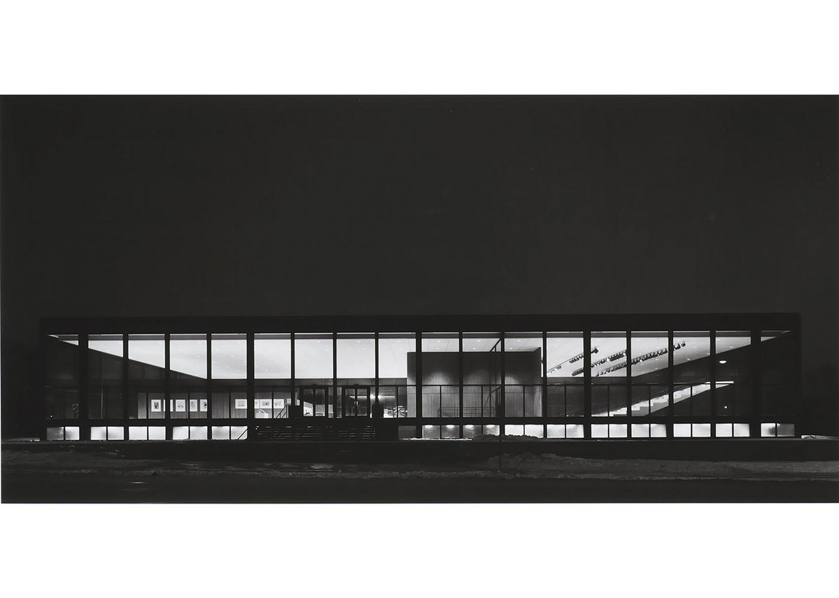 Exterior of Saidye Bronfman Centre at night, 1968, photographed by Richard Nickel. Architect: Phyllis Lambert.