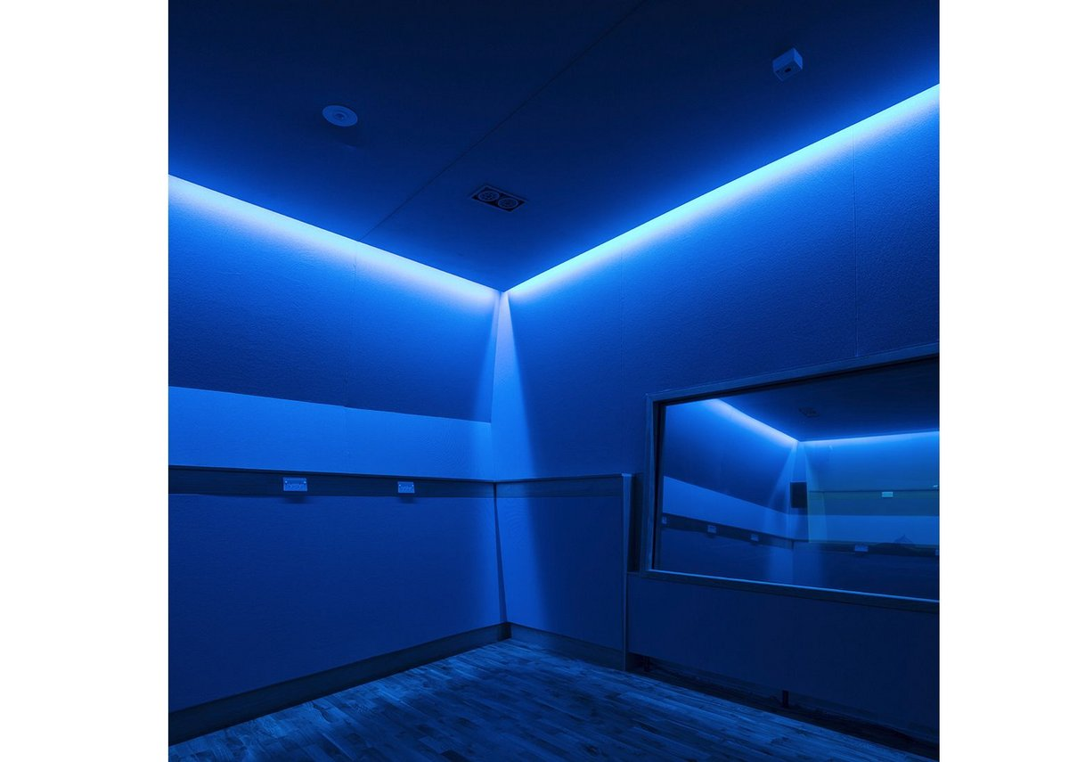 Sensory room lit in blue.