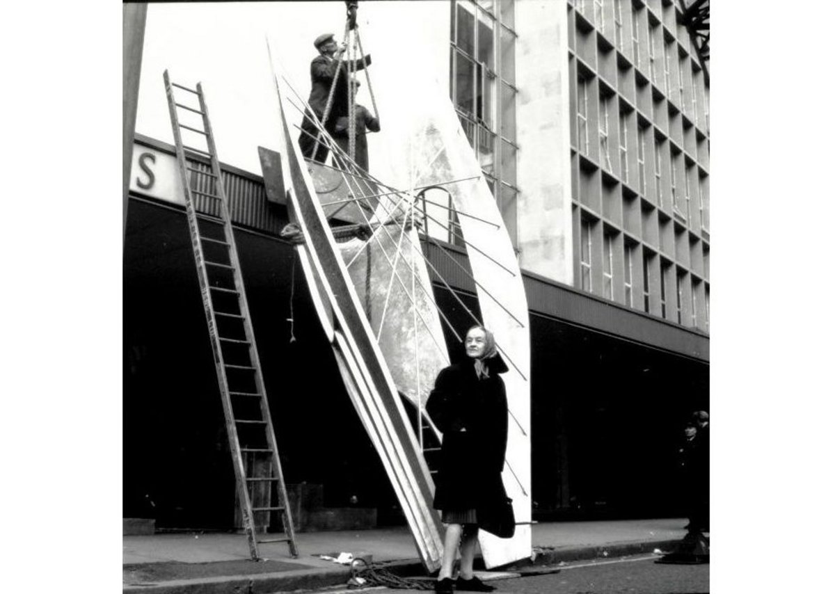 Barbara Hepworth as her Winged Figure was installed, 1961-2  London.