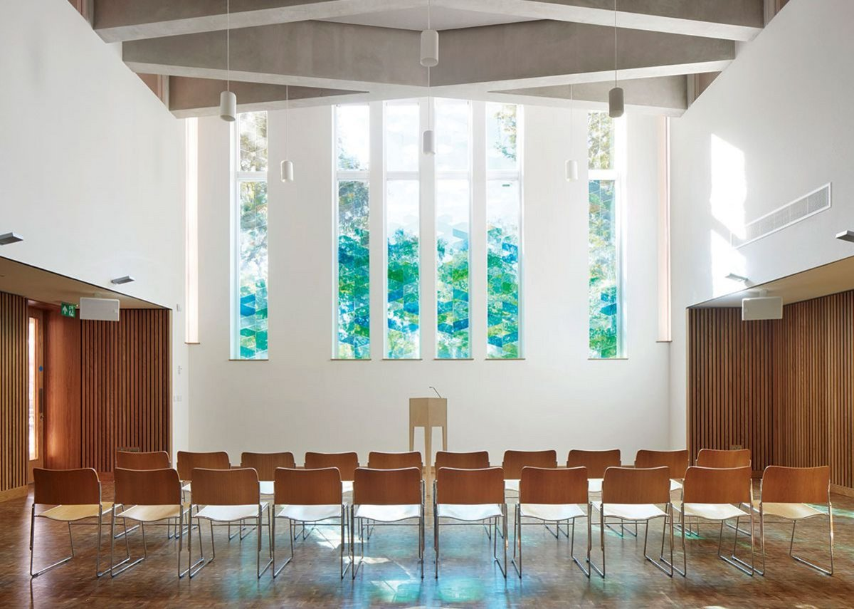 The main church hall with its diamond lattice beam ceiling structure.