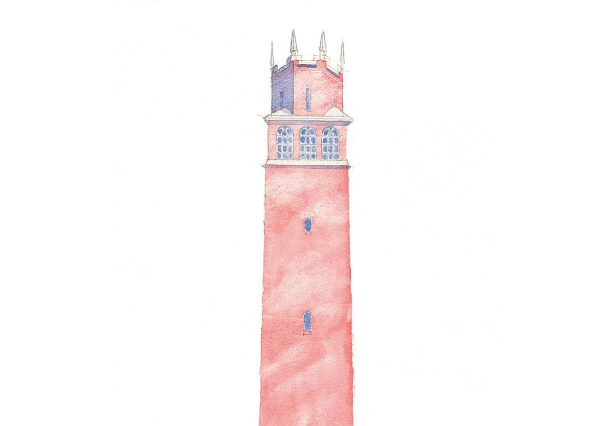 Faringdon Tower, Oxfordshire, built by Lord Berners in 1935 as a birthday present to his boyfriend. Sketch by Rory Fraser