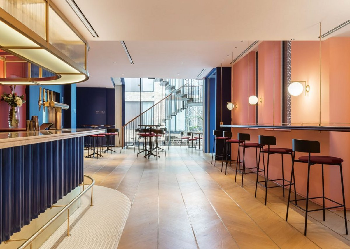 The main bar at first floor level – interiors designed by SODA with a 1950s flavour.