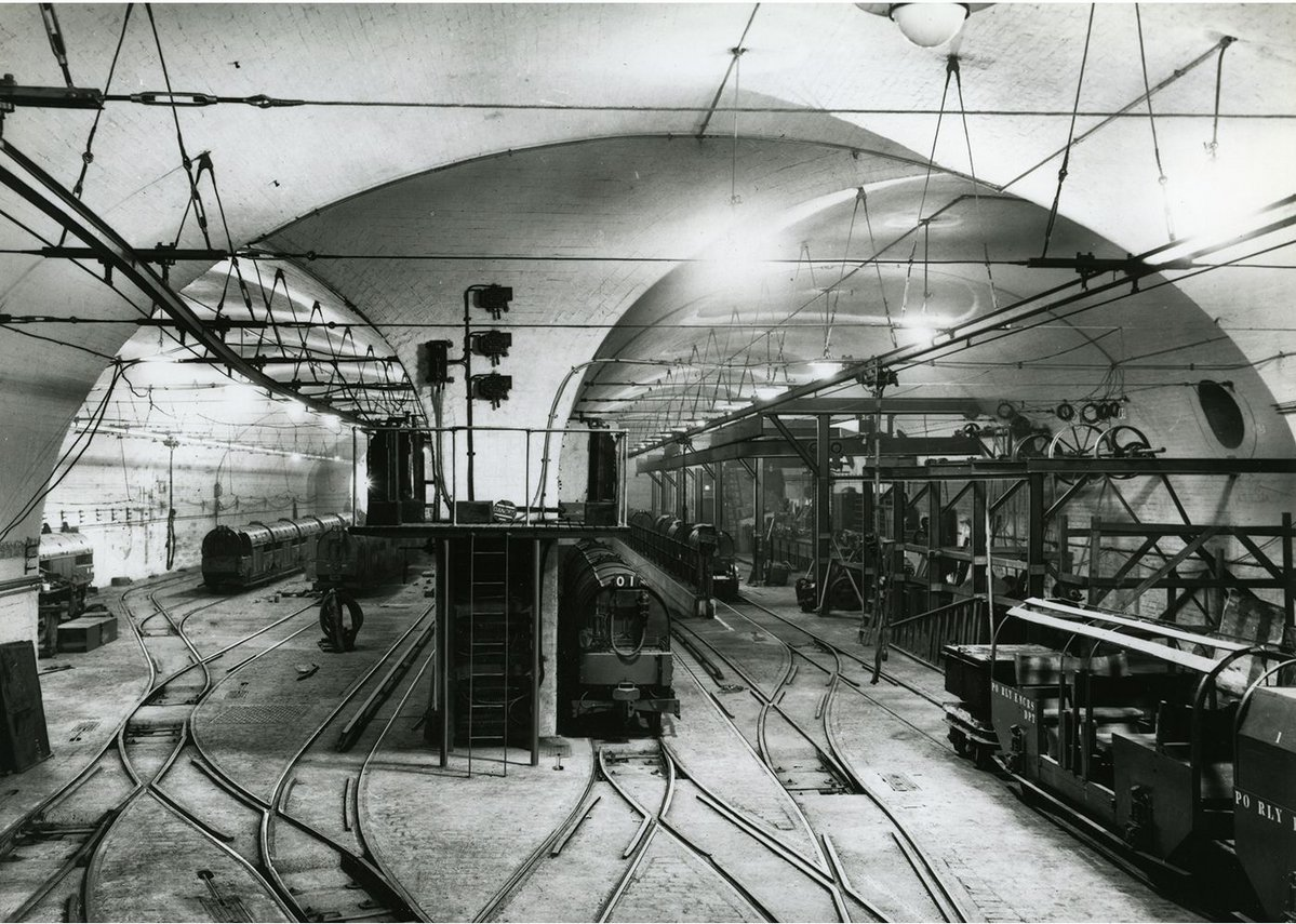 Archive image of Mail Rail car depot and workshop in use.