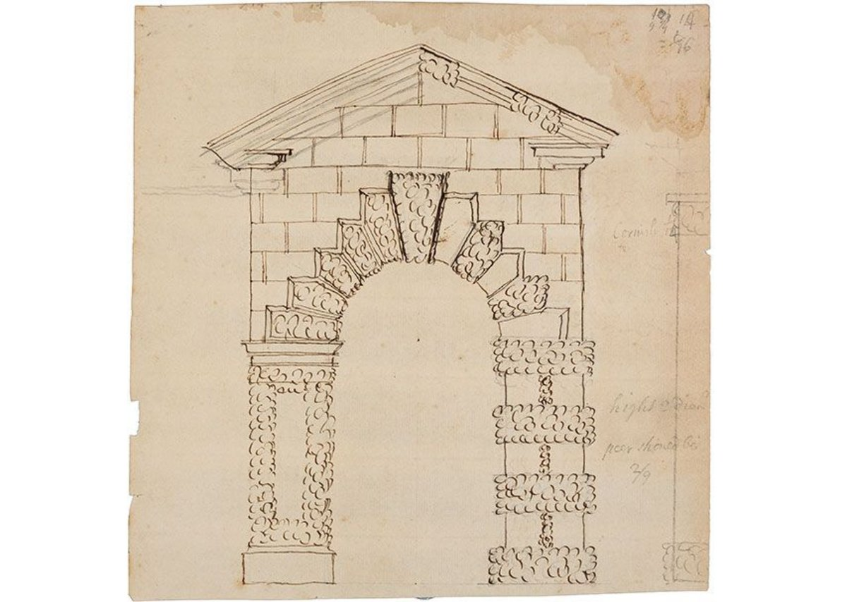 John Freeman, design for an archway, Fawley Court, 1735.