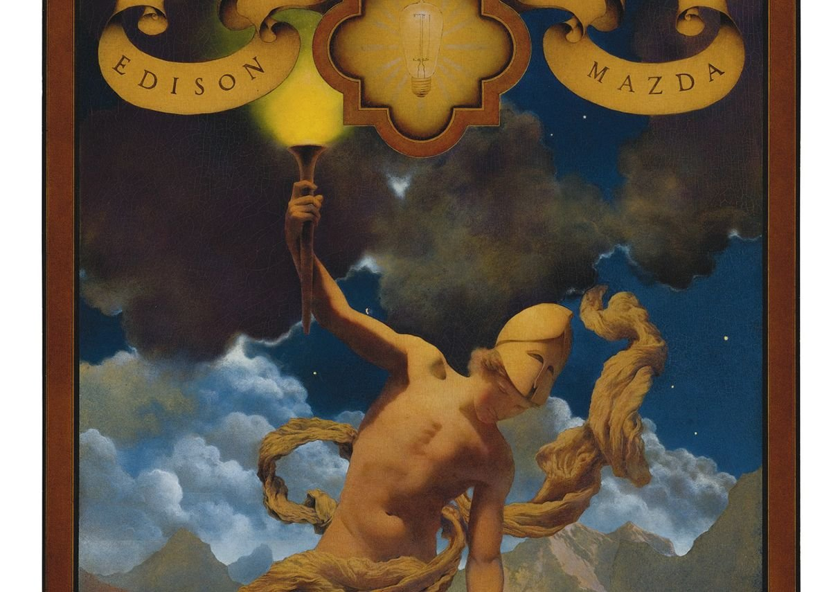 Edison was often compared to Prometheus, who stole light from the Gods for the use of humanity.  The image recapitulates the mystic origin myth of electric light that were common in the early decades of electric lighting. Maxfield Parrish, Prometheus, oil on panel created for General Electric calendars advertising Edison Mazda Lamps, 1919.