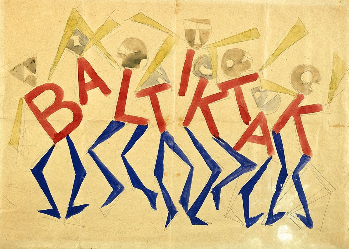 Giacomo Balla, Design for the sign and flashing light for the facade of the Bal Tic Tac, Rome, 1921, © DACS, 2019. Reproduced by permission of the Fondazione Torino Musei. Photo: Studio Fotografico Gonella 2014