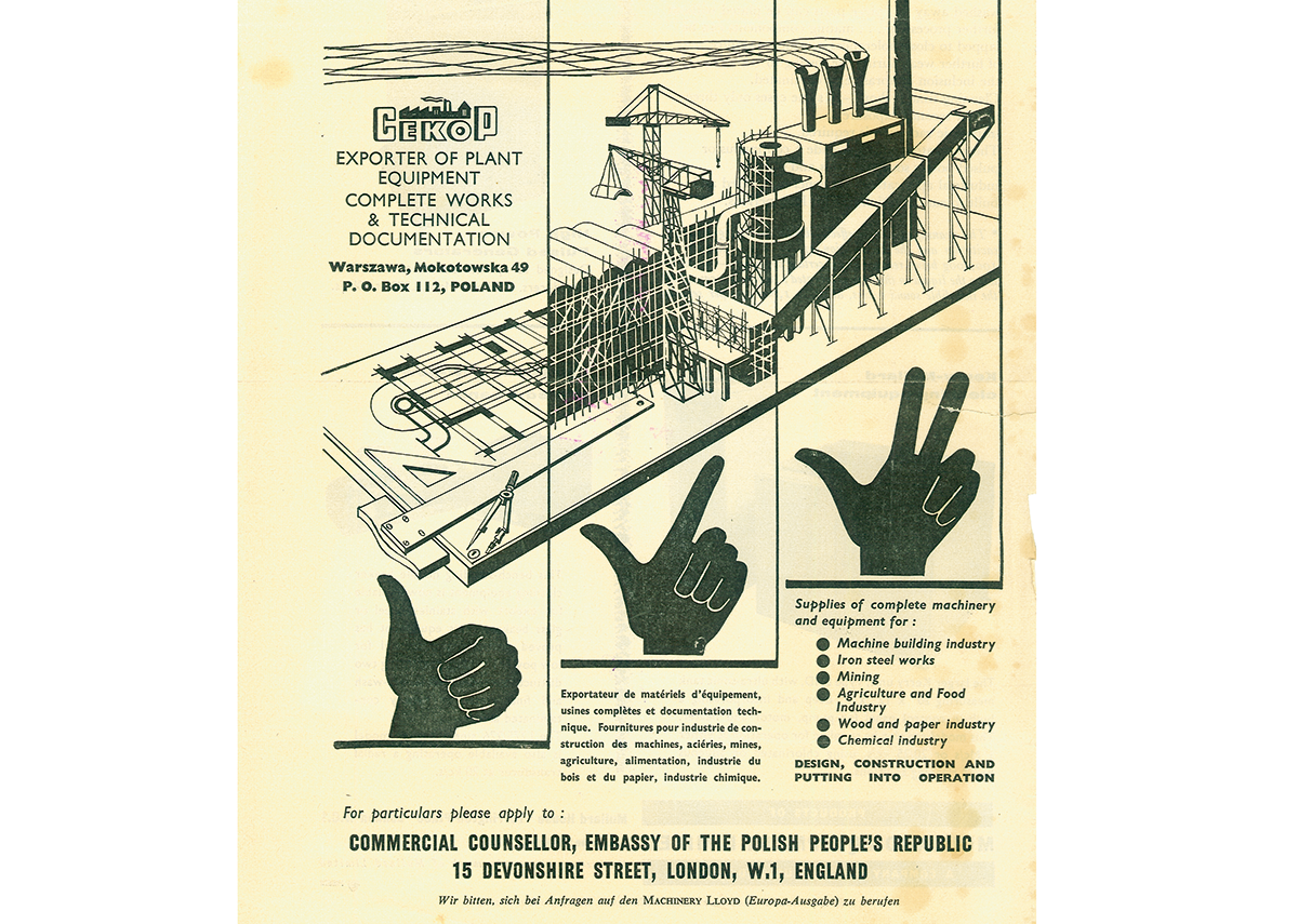 Advertisement of Cekop (Foreign Trade Organization for Complete Industrial Plants, Poland), 1958. Archiwum Akt Nowych (Warsaw, Poland).