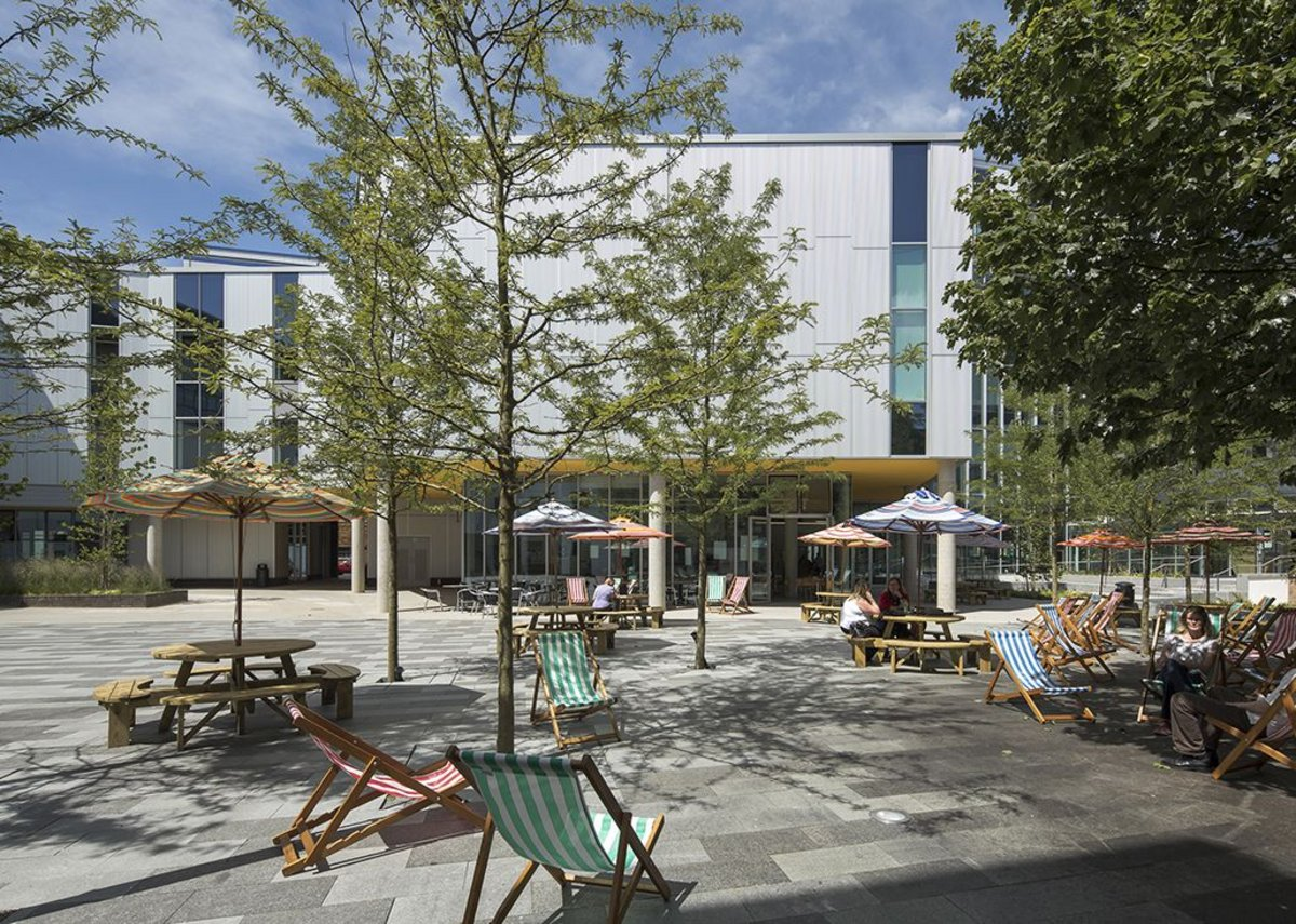 Deck chairs clustered in the sunniest spots in J & L Gibbons' newly relandscaped courtyard at the centre of the faculty